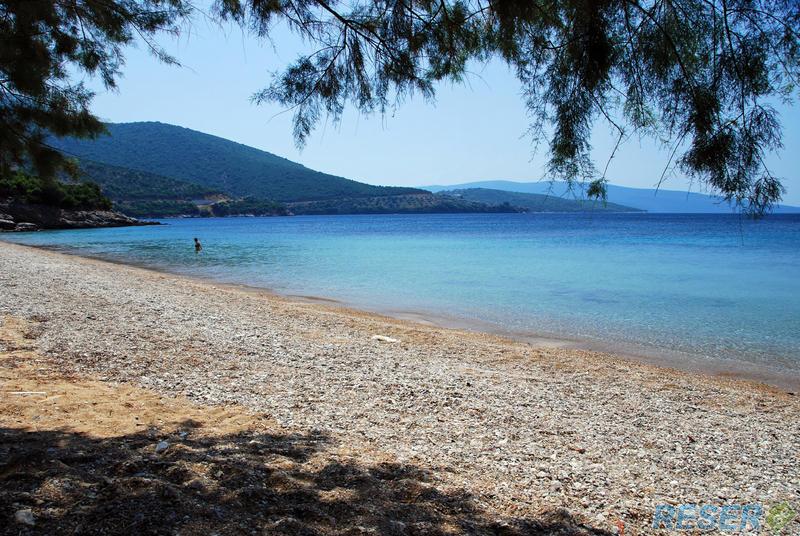 En privat strand på Kos, Grekland